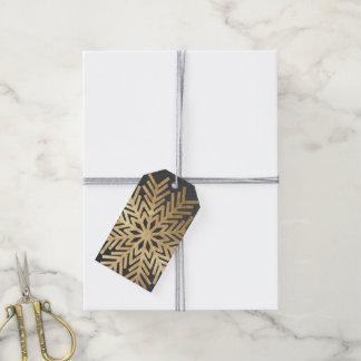 Holiday Gift Tag Gray Kraft Gold Snowflakes