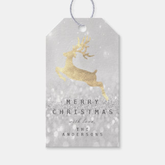 Holiday Gift Tag Grey Glitter Silver Gold Reindeer