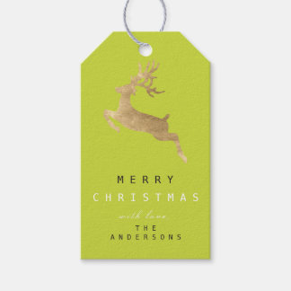 Holiday Gift Tag Limon Green Gold Reindeer