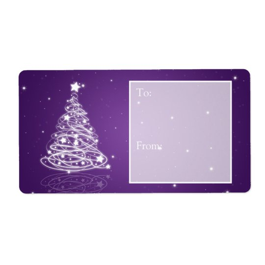 Holiday Gift Tag Modern Christmas Tree Purple Shipping Label