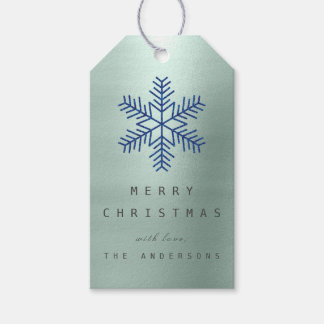 Holiday Gift Tag Navy Ice Blue Snowflakes