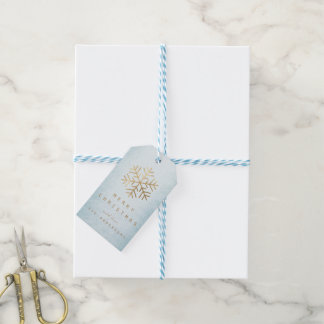 Holiday Gift Tag  Pure Blue Golden Snowflakes