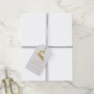 Holiday Gift Tag White Kraft Gold Reniadeer