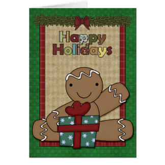 Holiday Gingerbread Cookie - Boy Greeting Card