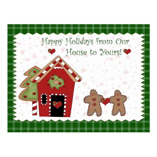 Holiday Gingerbread Green Postcard