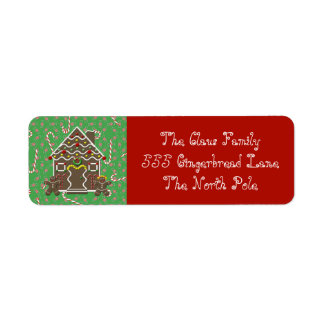 Holiday Gingerbread House  Address Labels