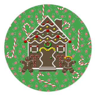 Holiday Gingerbread House Sweet Wishes 13 Cm X 13 Cm Square Invitation Card