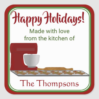 Holiday Gingerbread Kitchen Square Sticker