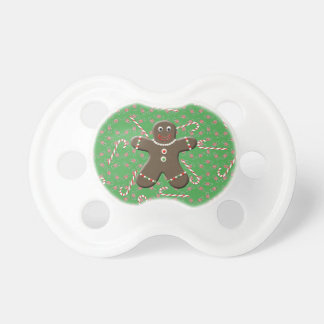 Holiday Gingerbread Man Christmas Candy canes Baby Pacifiers