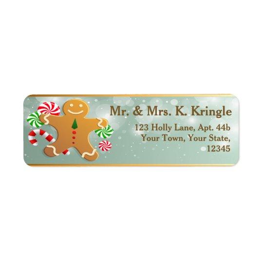 Holiday Gingerbread Man Return Address Labels
