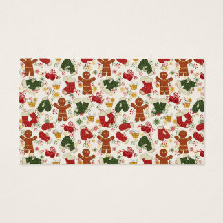 Holiday Gingerbread Pattern Business Card
