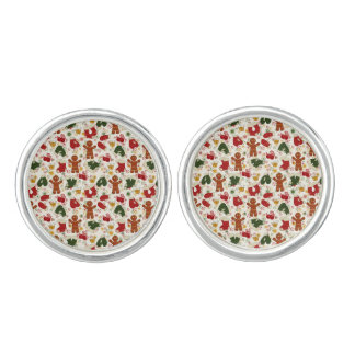 Holiday Gingerbread Pattern Cuff Links