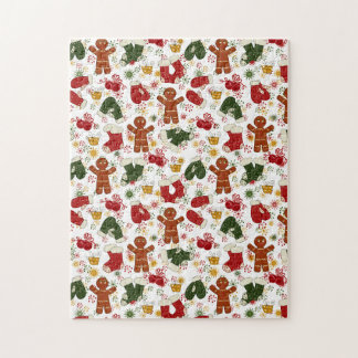 Holiday Gingerbread Pattern Jigsaw Puzzle