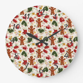 Holiday Gingerbread Pattern Large Clock