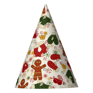 Holiday Gingerbread Pattern Party Hat
