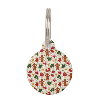 Holiday Gingerbread Pattern Pet ID Tag