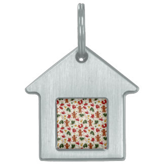 Holiday Gingerbread Pattern Pet Name Tag