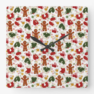 Holiday Gingerbread Pattern Square Wall Clock