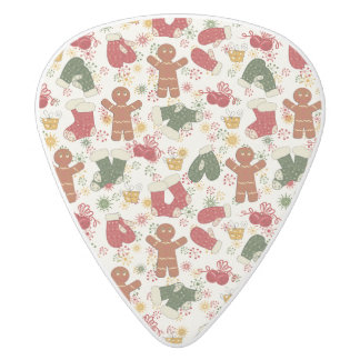 Holiday Gingerbread Pattern White Delrin Guitar Pick