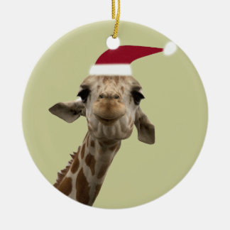 Holiday Giraffe Ceramic Ornament