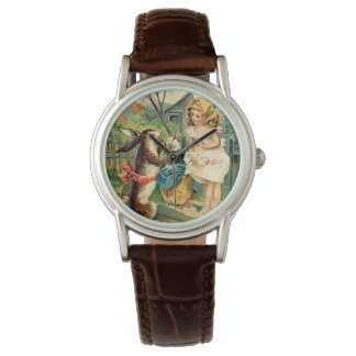 Holiday Girl & Bunny Vintage Easter Watch