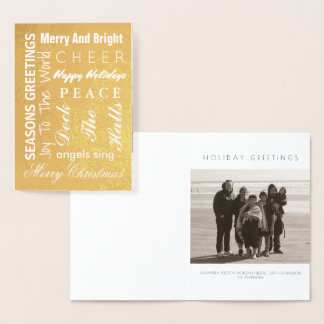 Holiday Gold Christmas Typography Add Your Photo Foil Card