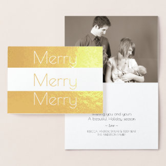 Holiday Gold Merry Modern Chic Add Your Photo Foil Card