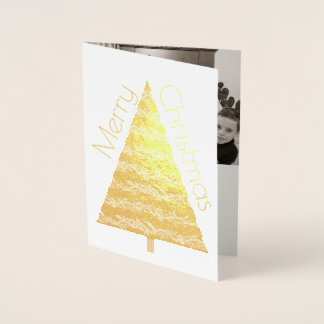 Holiday Gold Tree Merry Christmas Add Your Photo Foil Card