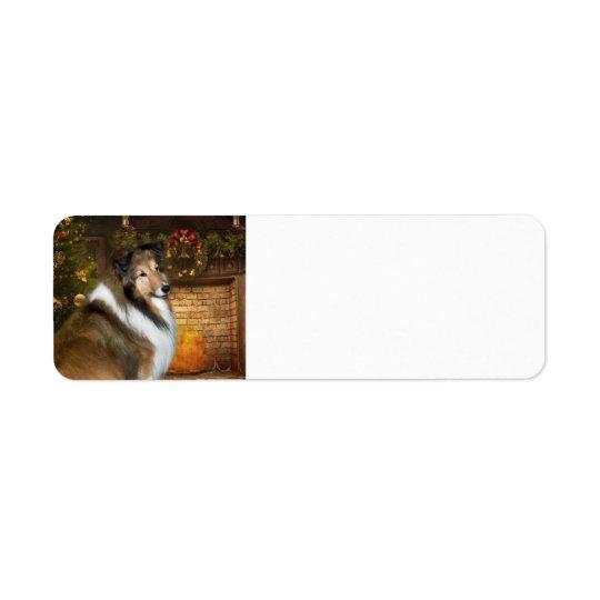 """Holiday """"Grace Sheltie Return Address Label"""