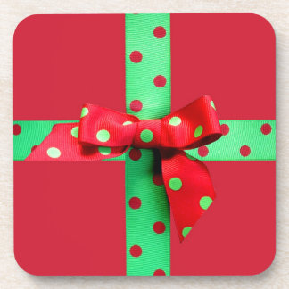 Holiday Green and Red Polka Dot Ribbon Coaster