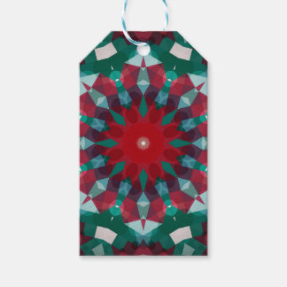 Holiday Green Red with Blue Accent Mandala Gift Tags