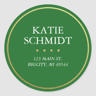 Holiday Green Return Address Label Faux Gold Foil Round Sticker