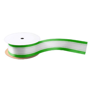 Holiday Green  White  Cute Striped  Wrapping Satin Ribbon