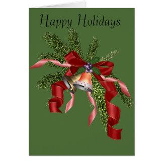 Holiday greeting Card bells and ribbons