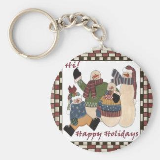 Holiday Greeting Snowmen Key Chains