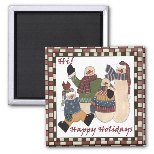 Holiday Greeting Snowmen Magnet