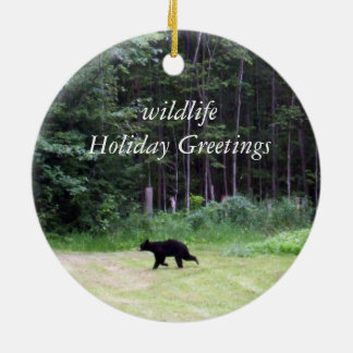 Holiday Greetings- Black Bear Ceramic Ornament