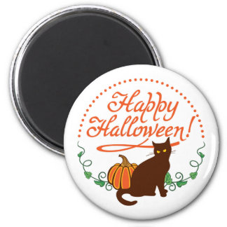 Holiday greetings from black cat 6 cm round magnet