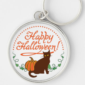 Holiday greetings from black cat Silver-Colored round key ring
