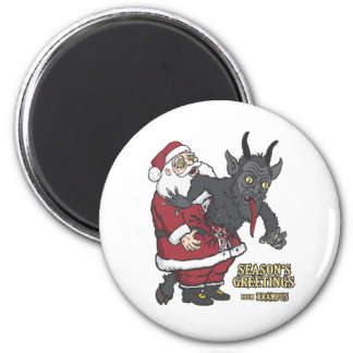 Holiday Greetings from Krampus (and Santa) 6 Cm Round Magnet