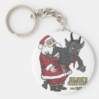 Holiday Greetings from Krampus (and Santa) Basic Round Button Key Ring