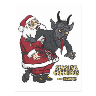 Holiday Greetings from Krampus (and Santa) Postcard