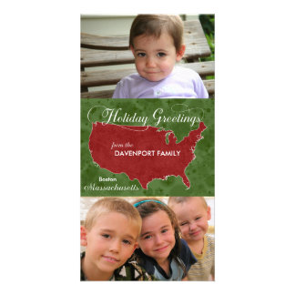 Holiday Greetings from Massachusetts - Photo, Name Personalised Photo Card
