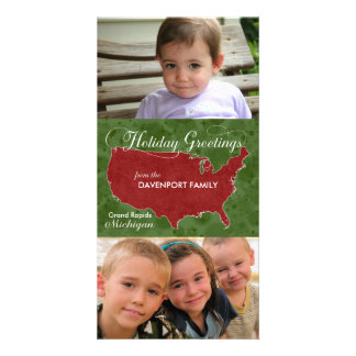 Holiday Greetings from Michigan - Photo, Name Customized Photo Card