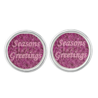 Holiday Greetings In Pink Cuff Links