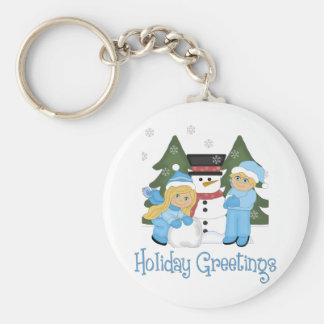 Holiday Greetings Kids Building Snowman Blonde Key Chain