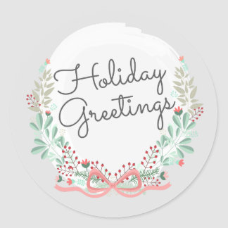 Holiday Greetings Modern Floral Wreath Round Sticker