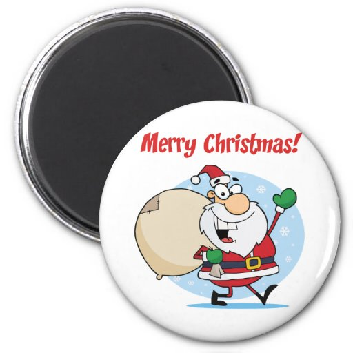 Holiday Greetings With Santa Claus Refrigerator Magnet