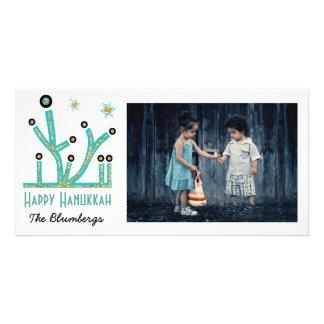 """Holiday Happy Hanukkah Card """"Menorah Bling"""""""