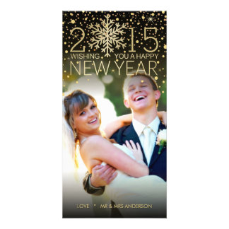 Holiday Happy New Year Snowflake Confetti Glitter Customized Photo Card